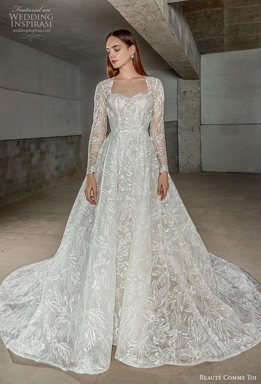 beaute comme toi 2021 bridal long sleeves square sweetheart neckline full embellishment princess elegant a  line wedding dress keyhole back chapel train (erika) mv