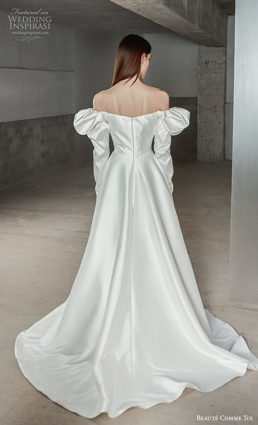 beaute comme toi 2021 bridal off the shoulder long gigot sleeves straight across neckline simple minimalist vintage a  line wedding dress mid back chapel train (analiese) bv