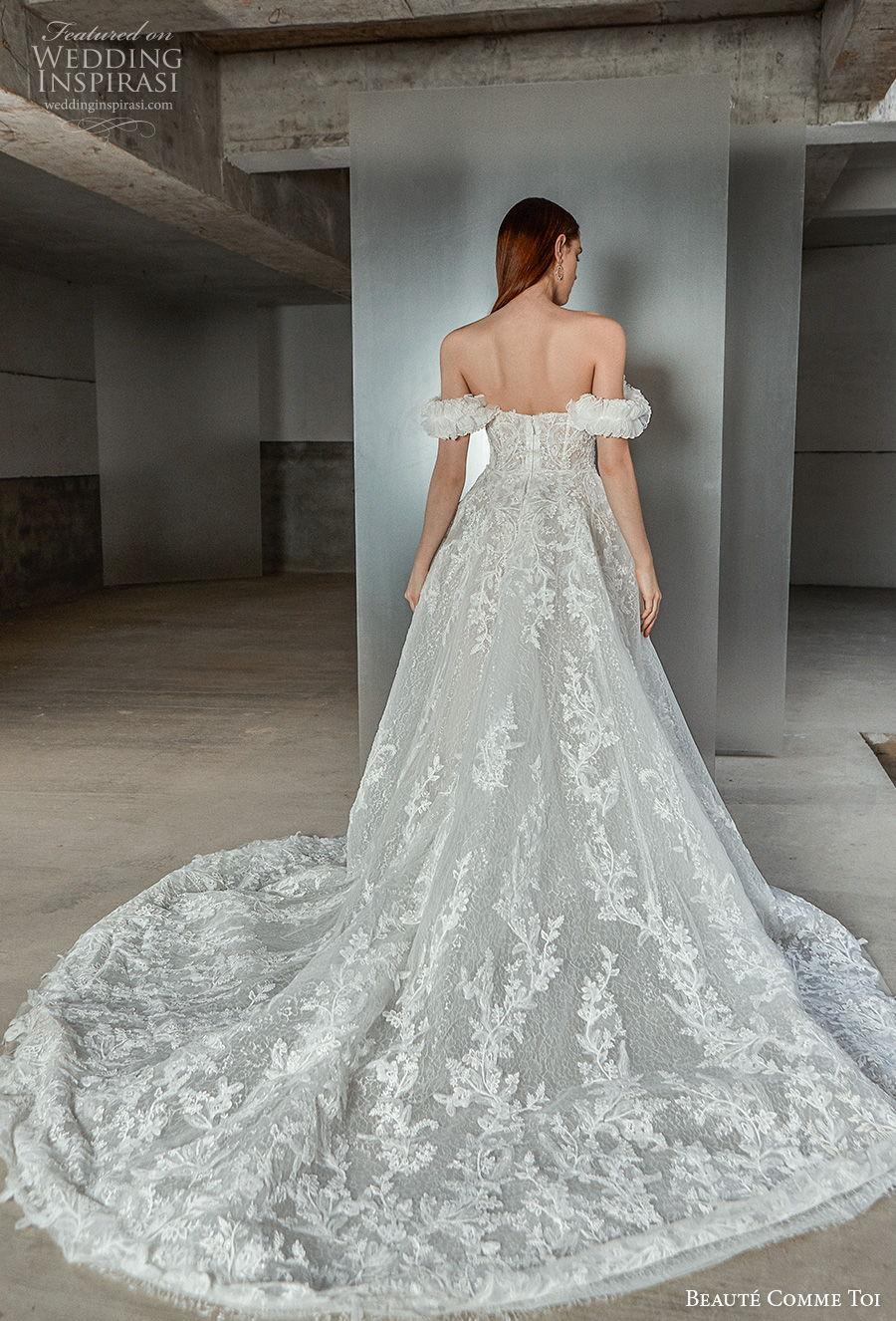 beaute comme toi 2021 bridal off the shoulder sweetheart neckline full embellishment princess romantic a  line wedding dress mid back chapel train (alaina) bv