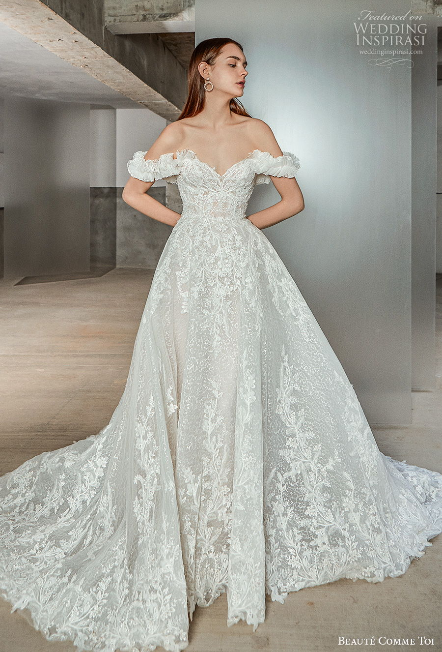 beaute comme toi 2021 bridal off the shoulder sweetheart neckline full embellishment princess romantic a  line wedding dress mid back chapel train (alaina) mv