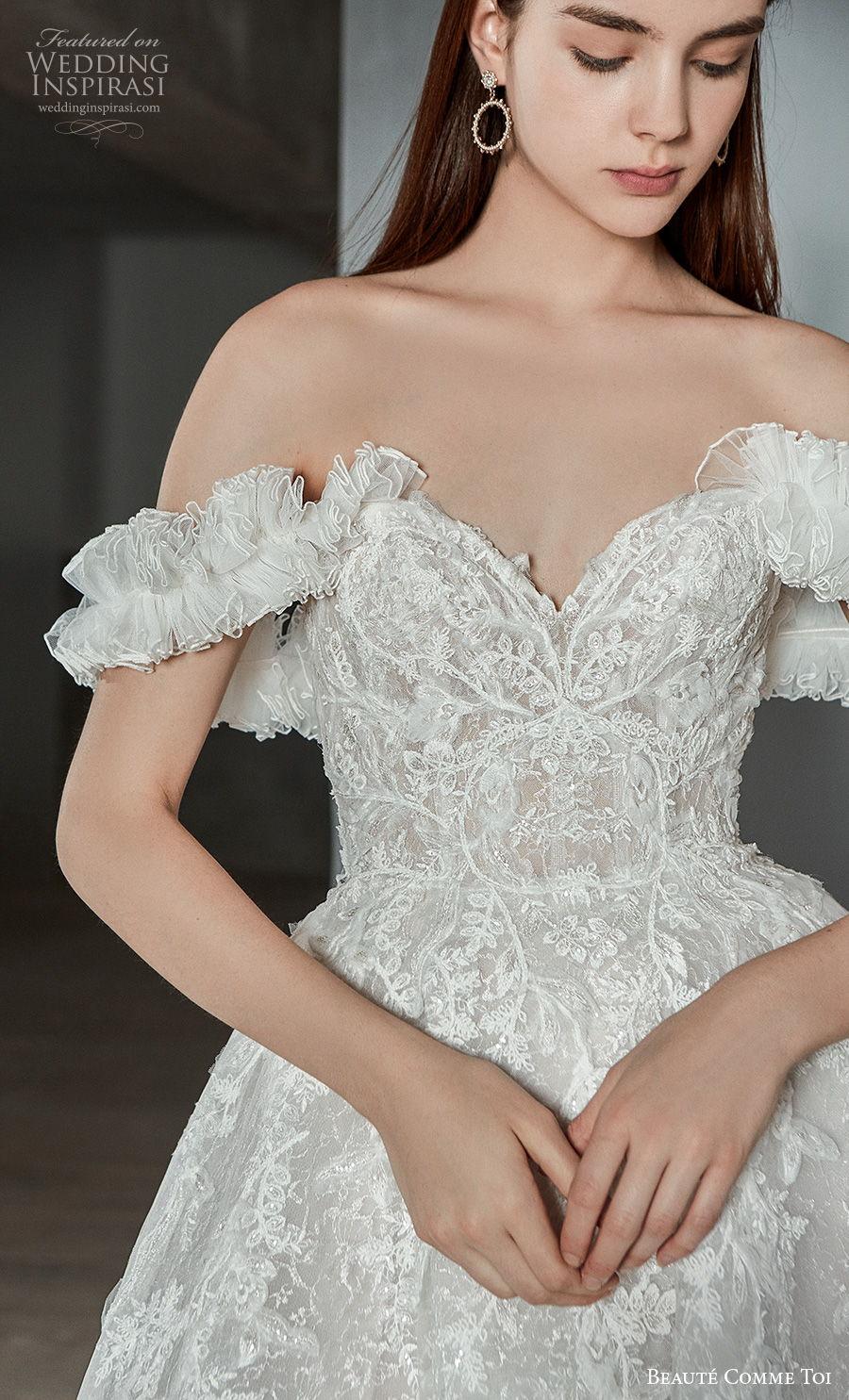beaute comme toi 2021 bridal off the shoulder sweetheart neckline full embellishment princess romantic a  line wedding dress mid back chapel train (alaina) zv