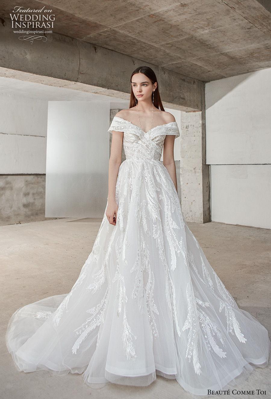 beaute comme toi 2021 bridal off the shoulder v neck full embellishment romantic a  line wedding dress long train (aracely) mv