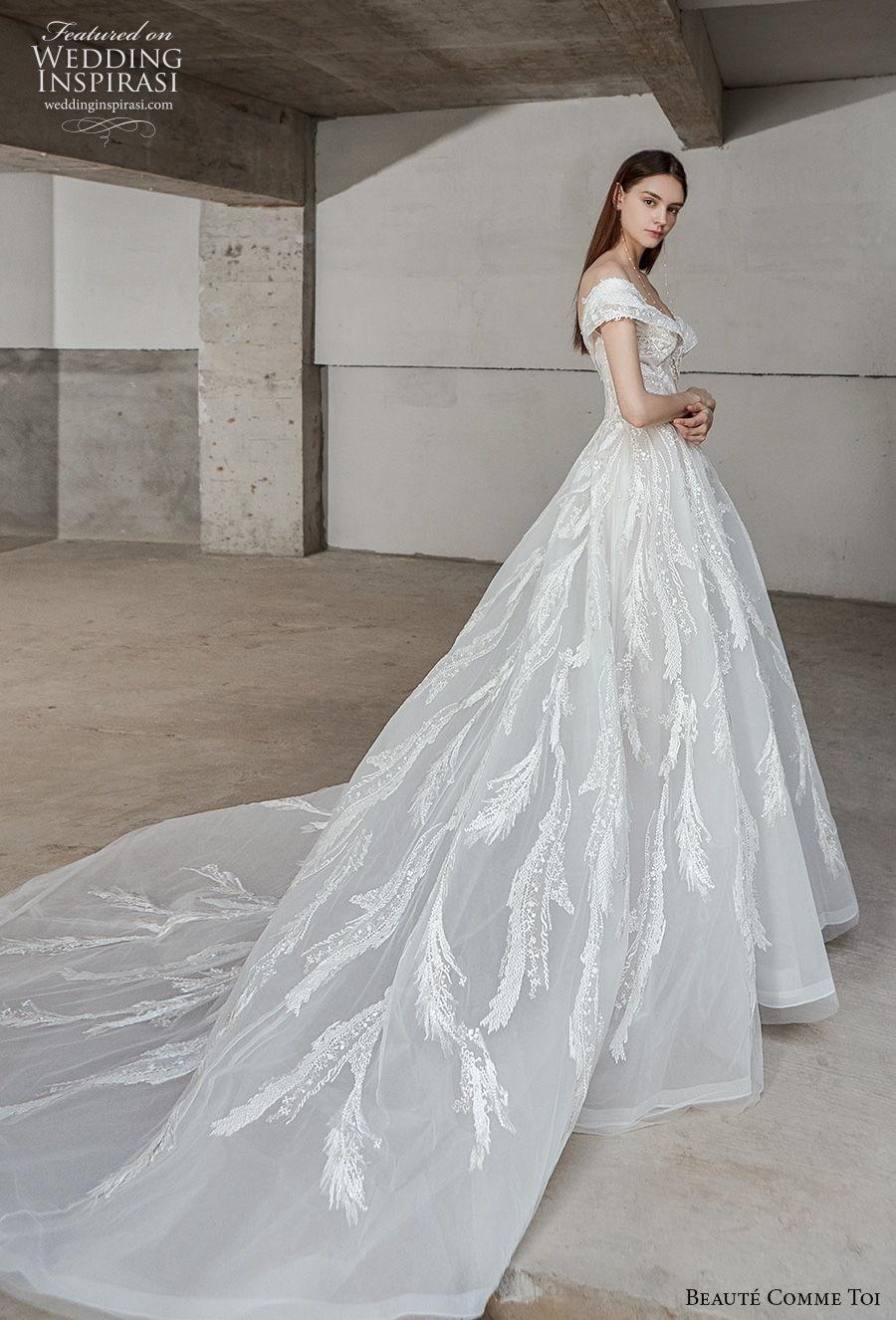 beaute comme toi 2021 bridal off the shoulder v neck full embellishment romantic a  line wedding dress long train (aracely) sdv