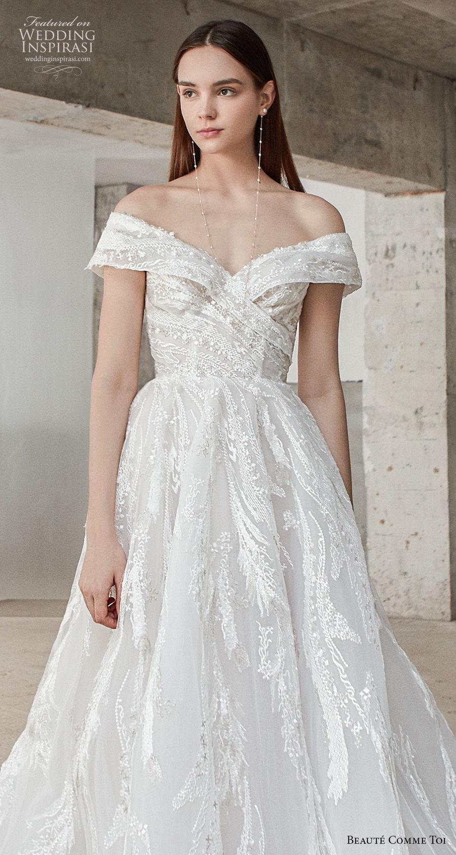 beaute comme toi 2021 bridal off the shoulder v neck full embellishment romantic a  line wedding dress long train (aracely) zv