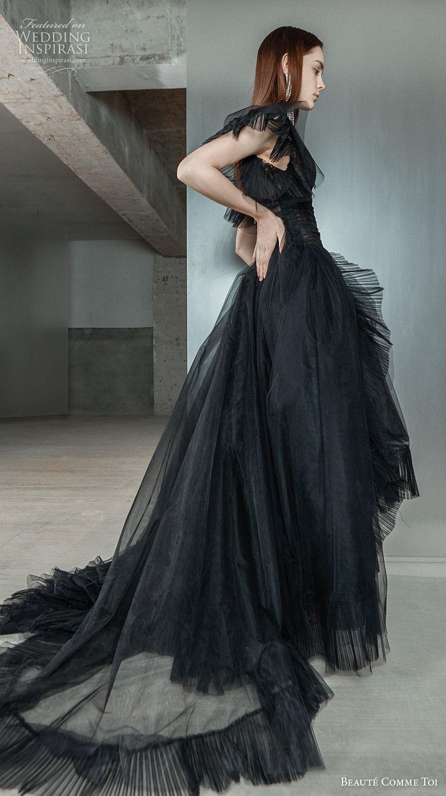 beaute comme toi 2021 bridal short butterfly sleeves v neck ruched bodice bohemian black wedding dress v back chapel train (dorothy) sdv