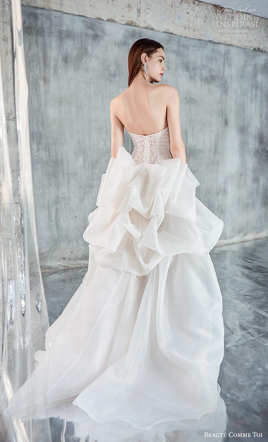 beaute comme toi 2021 bridal strapless straight across neckline full embellishment modern glamorous miniskirt short wedding chapel train (elise) bv