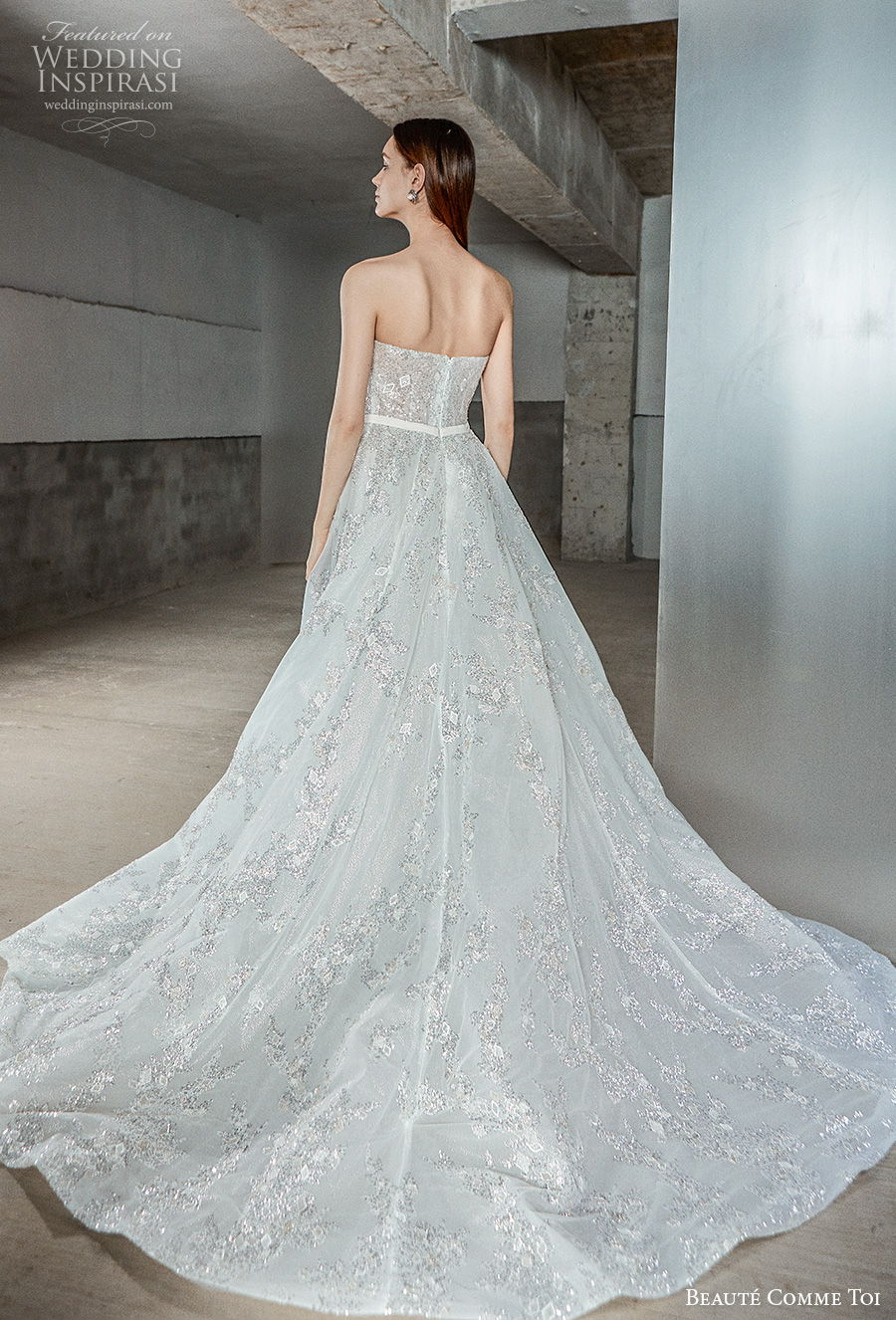 beaute comme toi 2021 bridal strapless straight across neckline full embellishment romantic a  line wedding dress mid back chapel train (myra) bv