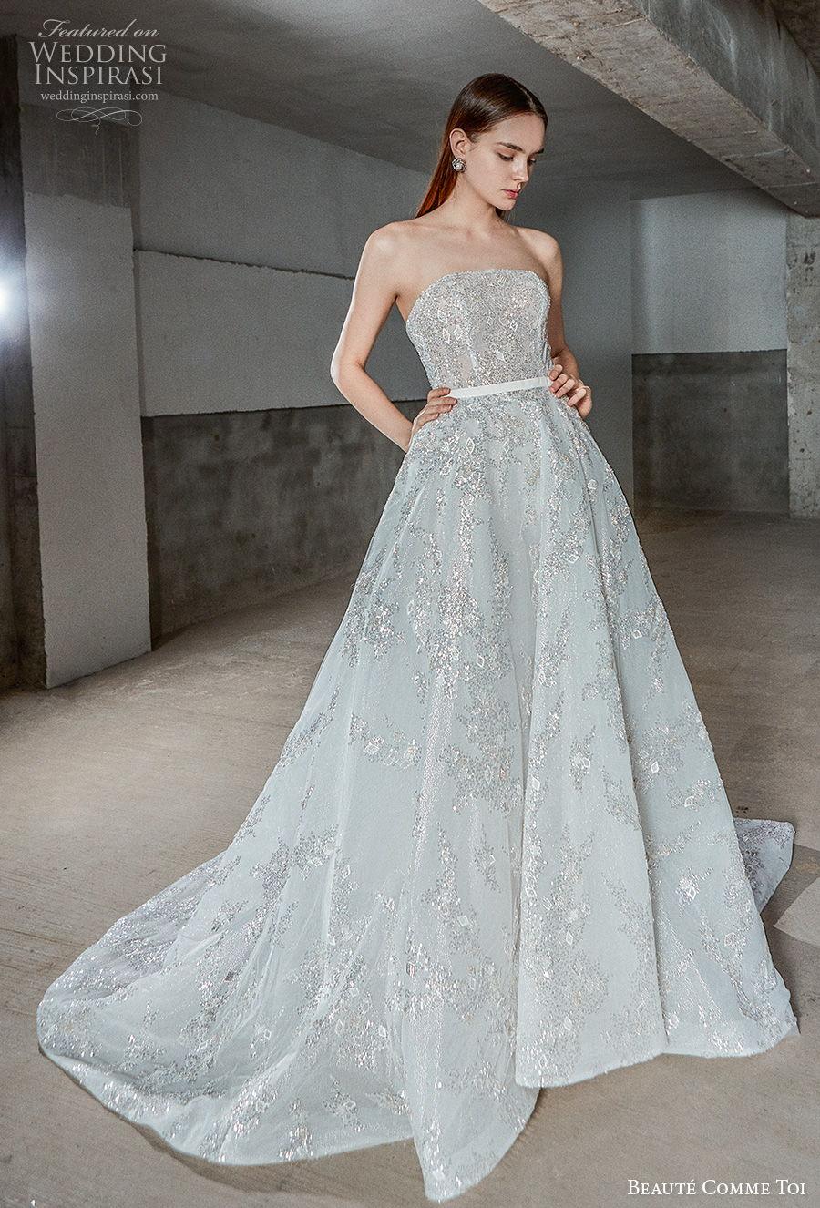 beaute comme toi 2021 bridal strapless straight across neckline full embellishment romantic a  line wedding dress mid back chapel train (myra) mv