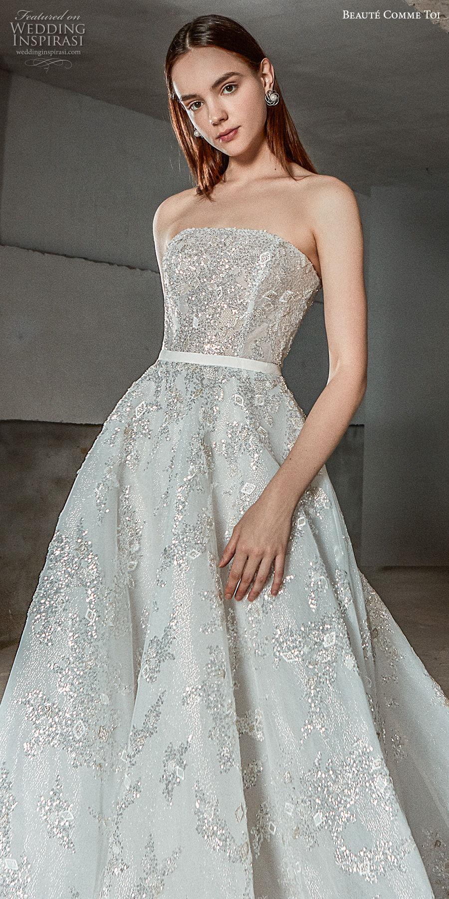beaute comme toi 2021 bridal strapless straight across neckline full embellishment romantic a  line wedding dress mid back chapel train (myra) zv