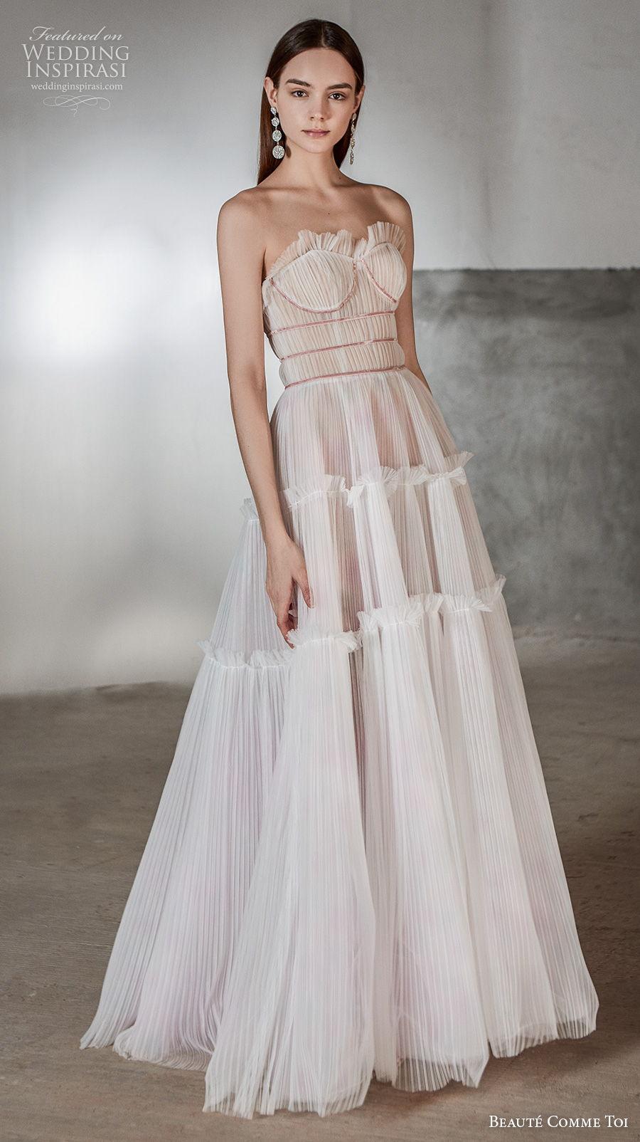 beaute comme toi 2021 bridal strapless sweetheart neckline pleated bodice romantic bohemian a  line wedding dress mid back sweep train (rosalee) mv