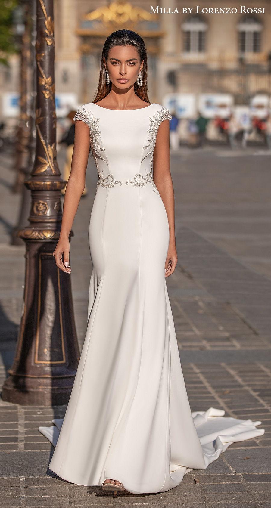milla lorenzo rossi 2021 bridal cap sleeves bateau neckline simple glamorous elegant fit and flare mermaid wedding dress chapel train (bernadette) mv