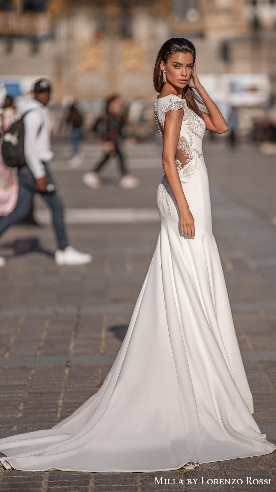 milla lorenzo rossi 2021 bridal cap sleeves bateau neckline simple glamorous elegant fit and flare mermaid wedding dress chapel train (bernadette) sdv