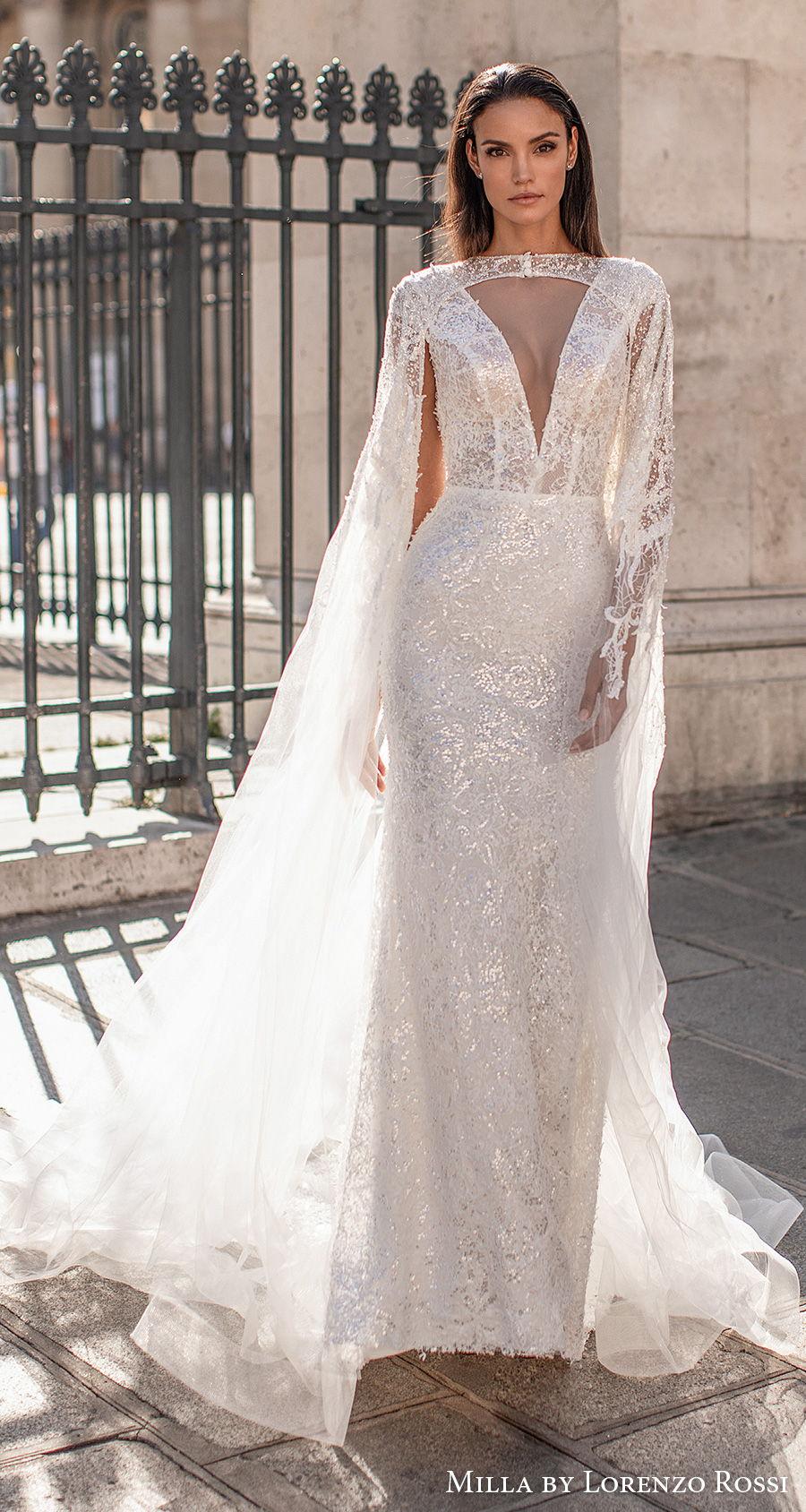 milla lorenzo rossi 2021 bridal cap sleeves deep v neck full embellishment elegant glamorous sheath wedding dress cape v back chapel train (brie) mv