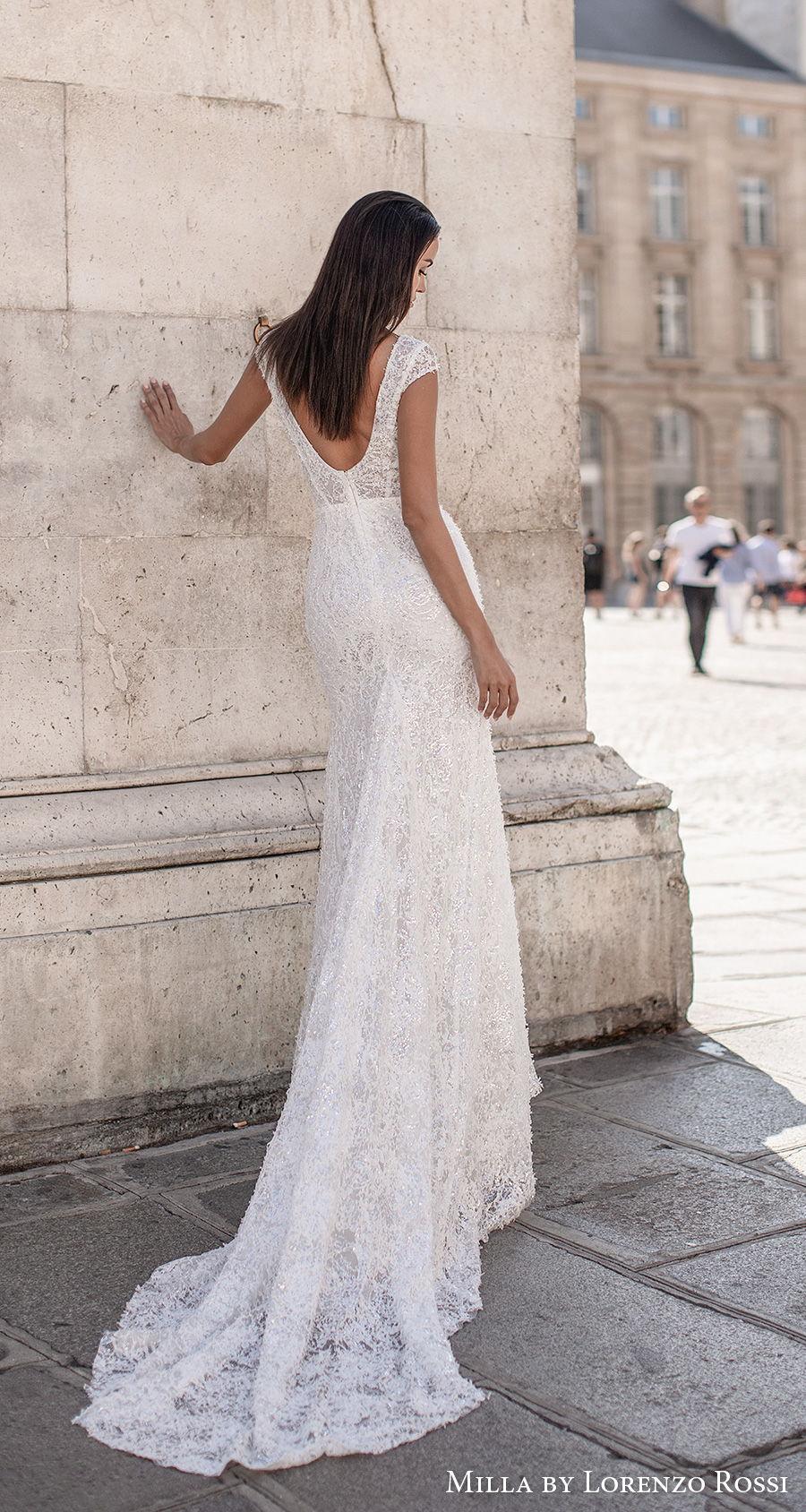 milla lorenzo rossi 2021 bridal cap sleeves deep v neck full embellishment elegant glamorous sheath wedding dress v back chapel train (brie) bv