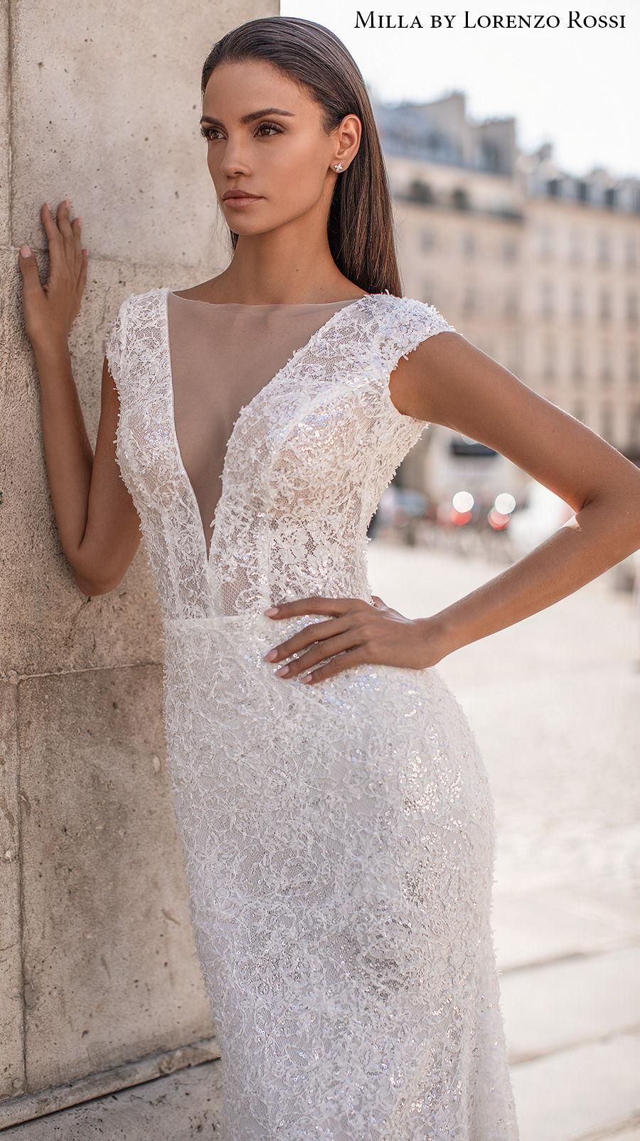 milla lorenzo rossi 2021 bridal cap sleeves deep v neck full embellishment elegant glamorous sheath wedding dress v back chapel train (brie) zv
