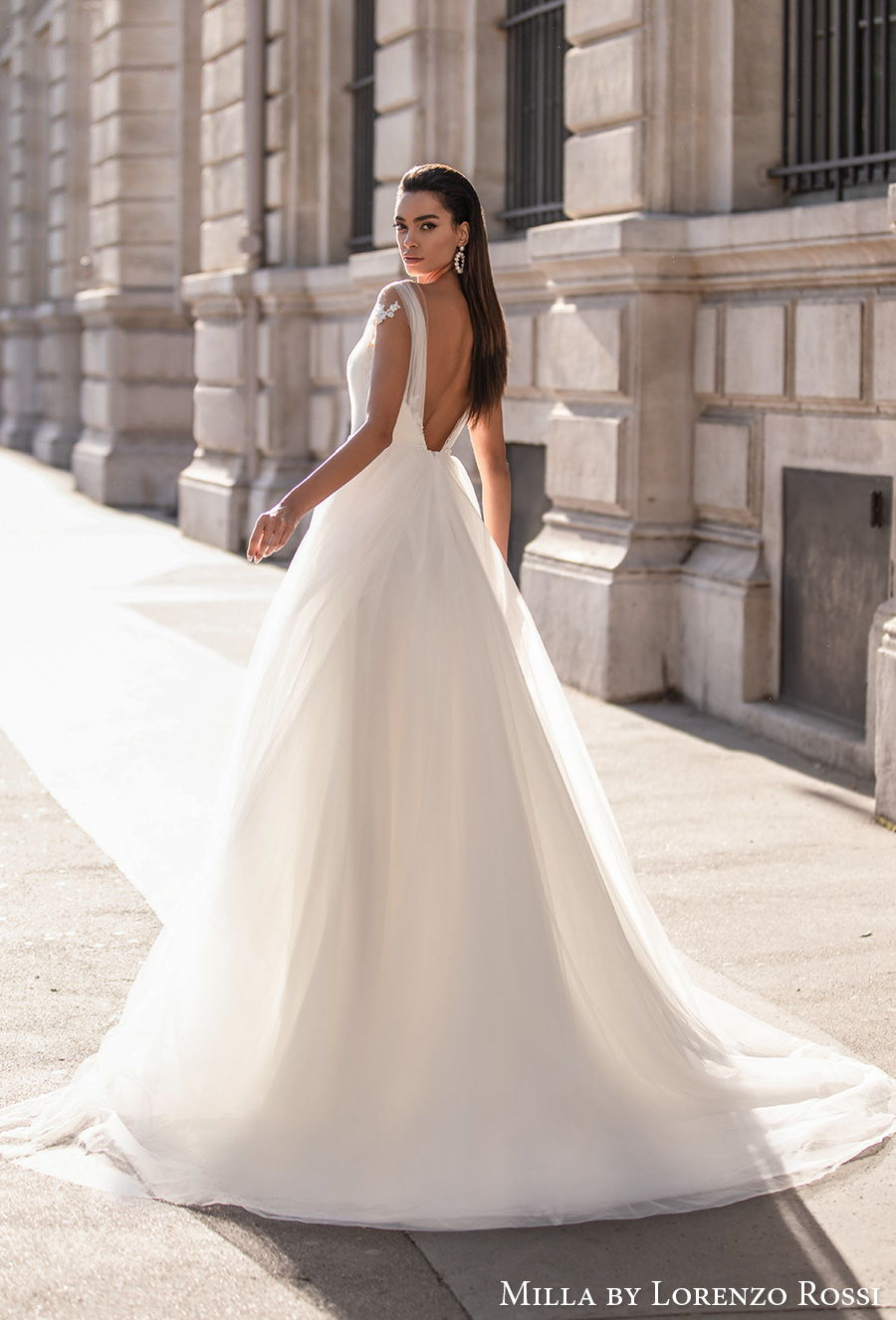 milla lorenzo rossi 2021 bridal cap sleeves  sweetheart neckline heavily embellished bodice romantic a  line wedding dress backless low v back chapel train (annebelle) bv