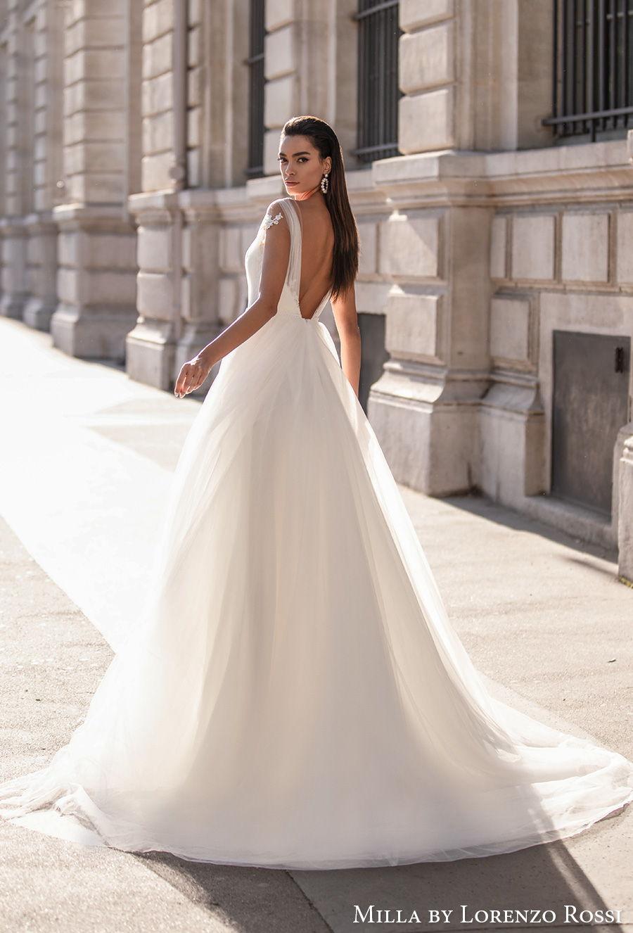 milla lorenzo rossi 2021 bridal cap sleeves  sweetheart neckline heavily embellished bodice romantic a  line wedding dress backless low v back chapel train (annebelle) bv