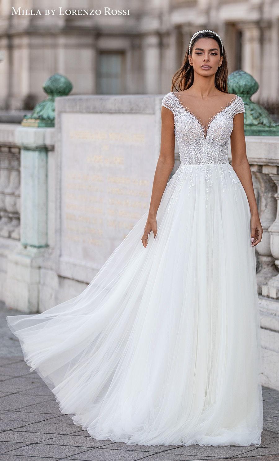 milla lorenzo rossi 2021 bridal cap sleeves v neck heavily embellished bodice romantic soft a  line wedding dress sweep train (lizette) mv