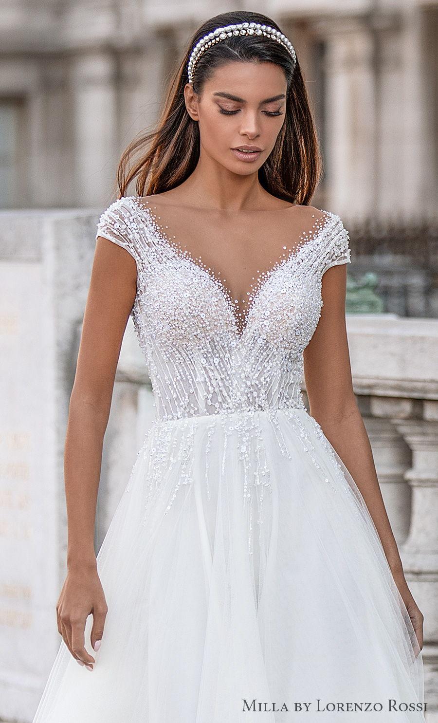 milla lorenzo rossi 2021 bridal cap sleeves v neck heavily embellished bodice romantic soft a  line wedding dress sweep train (lizette) zv