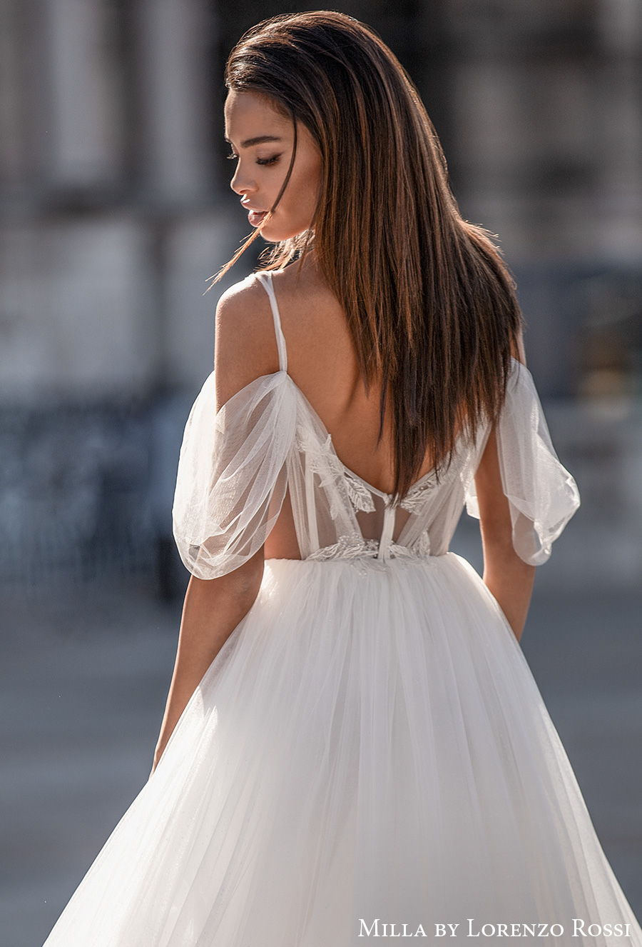 milla lorenzo rossi 2021 bridal cold shoulder sweetheart neckline heavily embellished bodice romantic a  line wedding dress backless chapel train (cherry) bv