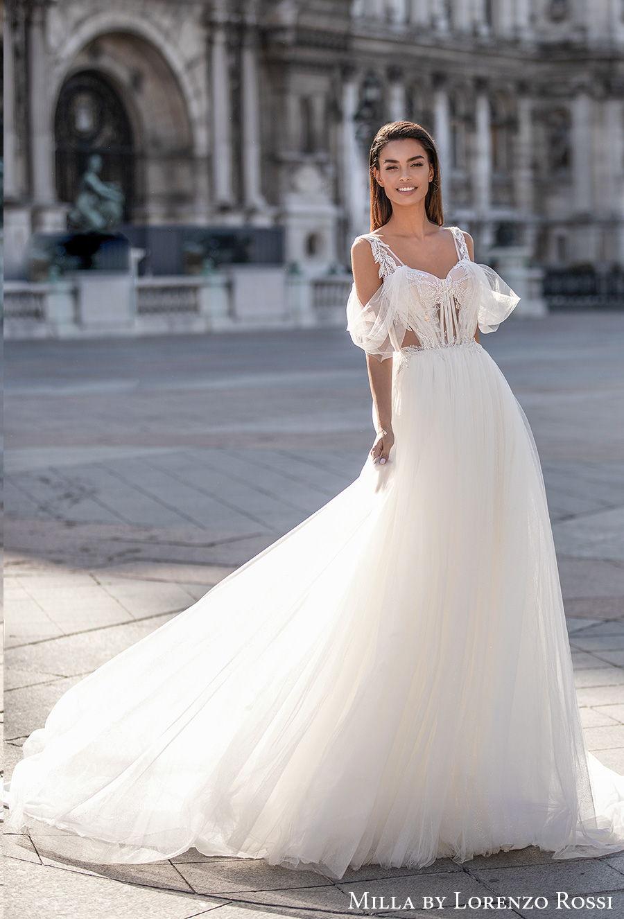 milla lorenzo rossi 2021 bridal cold shoulder sweetheart neckline heavily embellished bodice romantic a  line wedding dress backless chapel train (cherry) mv