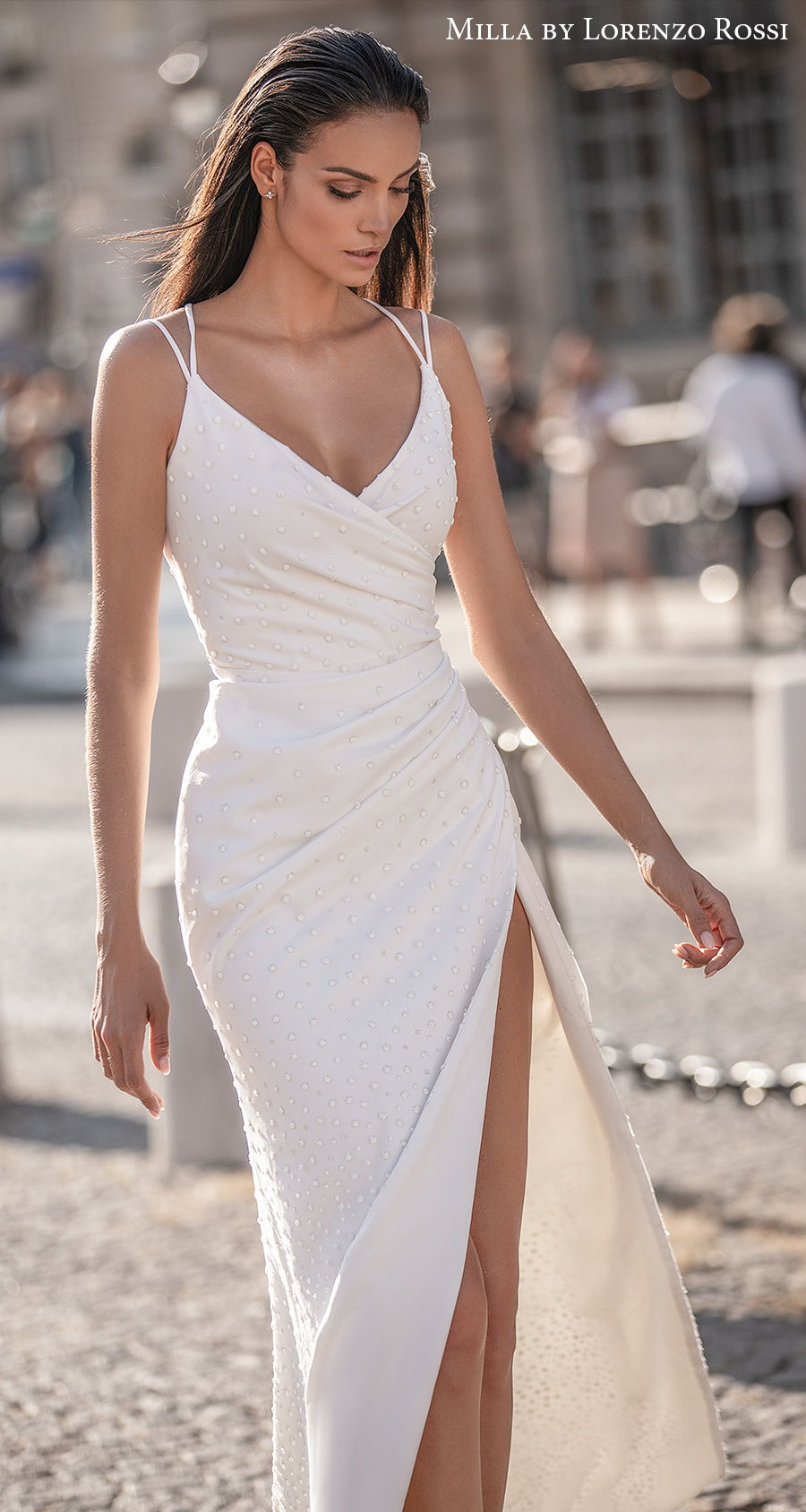 milla lorenzo rossi 2021 bridal double strap v neck wrap over bodice simple high slit skirt sheath wedding dress (corrie) mv