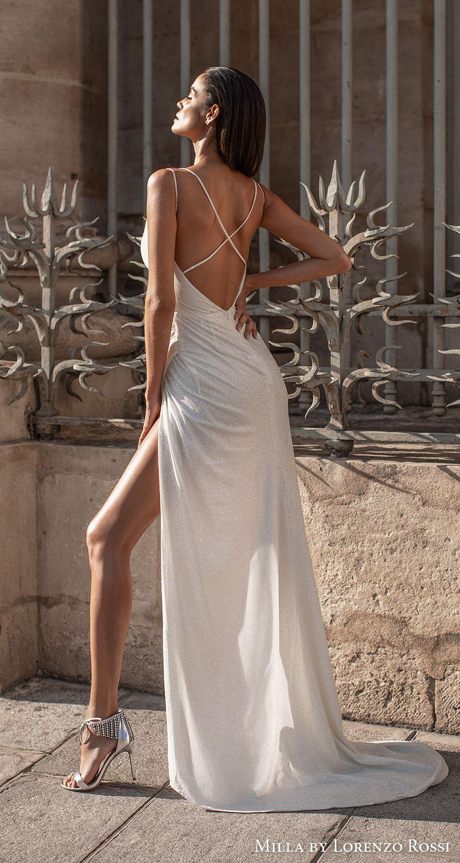 milla lorenzo rossi 2021 bridal double strap v neck wrap over bodice simple high slit skirt sheath wedding dress cross strap back (josie) bv