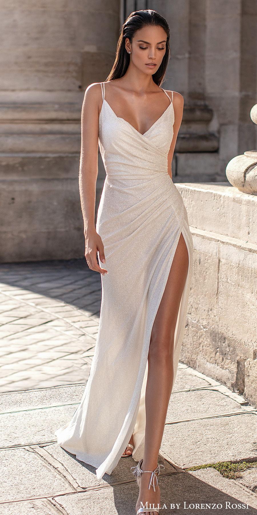 milla lorenzo rossi 2021 bridal double strap v neck wrap over bodice simple high slit skirt sheath wedding dress cross strap back (josie) mv