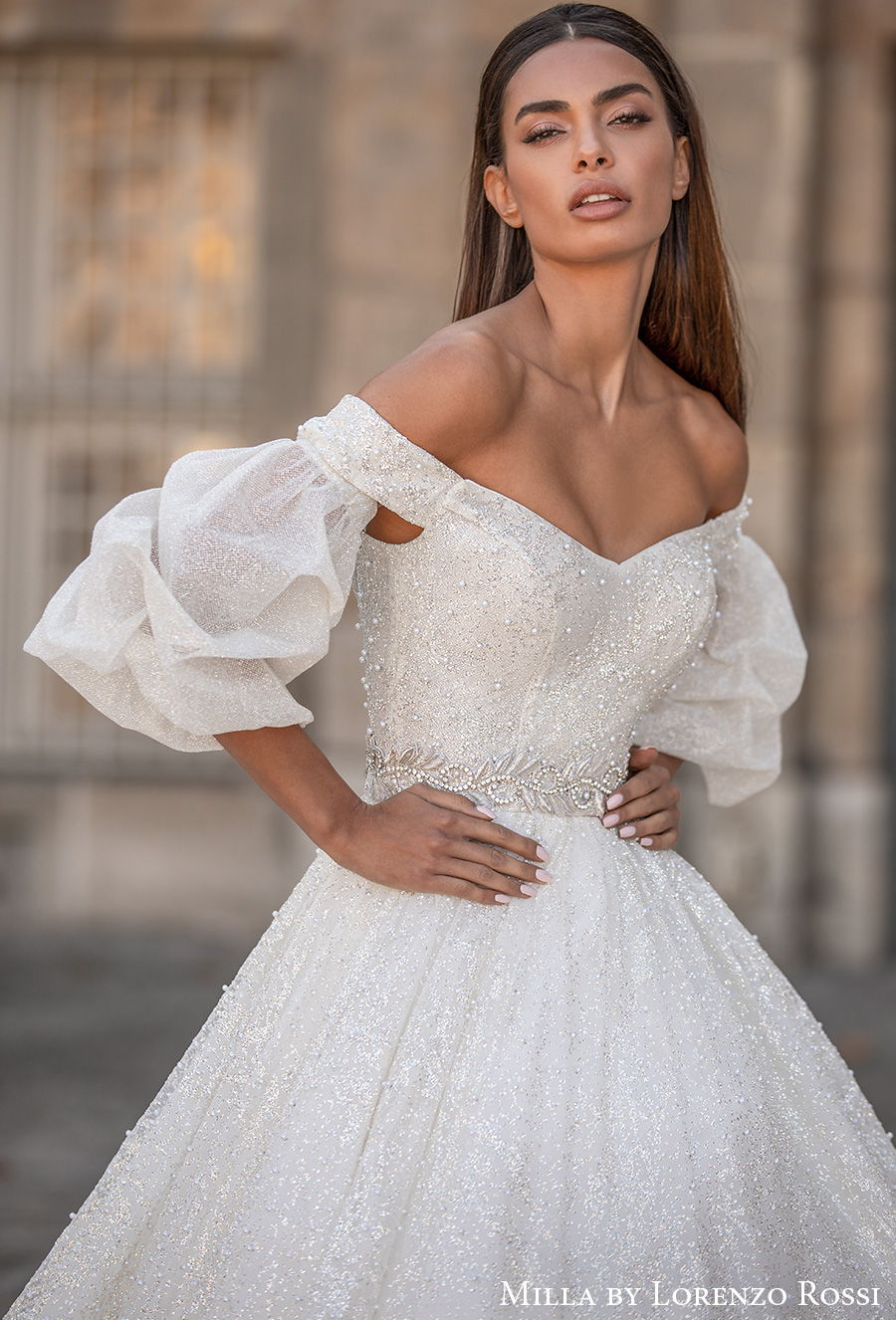milla lorenzo rossi 2021 bridal half puff sleeves off the shoulder sweetheart neckline full embellishment glitter princess a  line wedding dress chapel train (roxana) zv