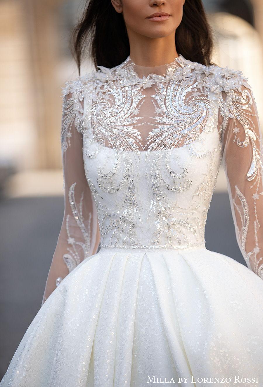 milla lorenzo rossi 2021 bridal logn sleeves jewel neck heavily embellished bodice elegant ball gown a  line wedding dress mid back chapel train (gabrielle) mv