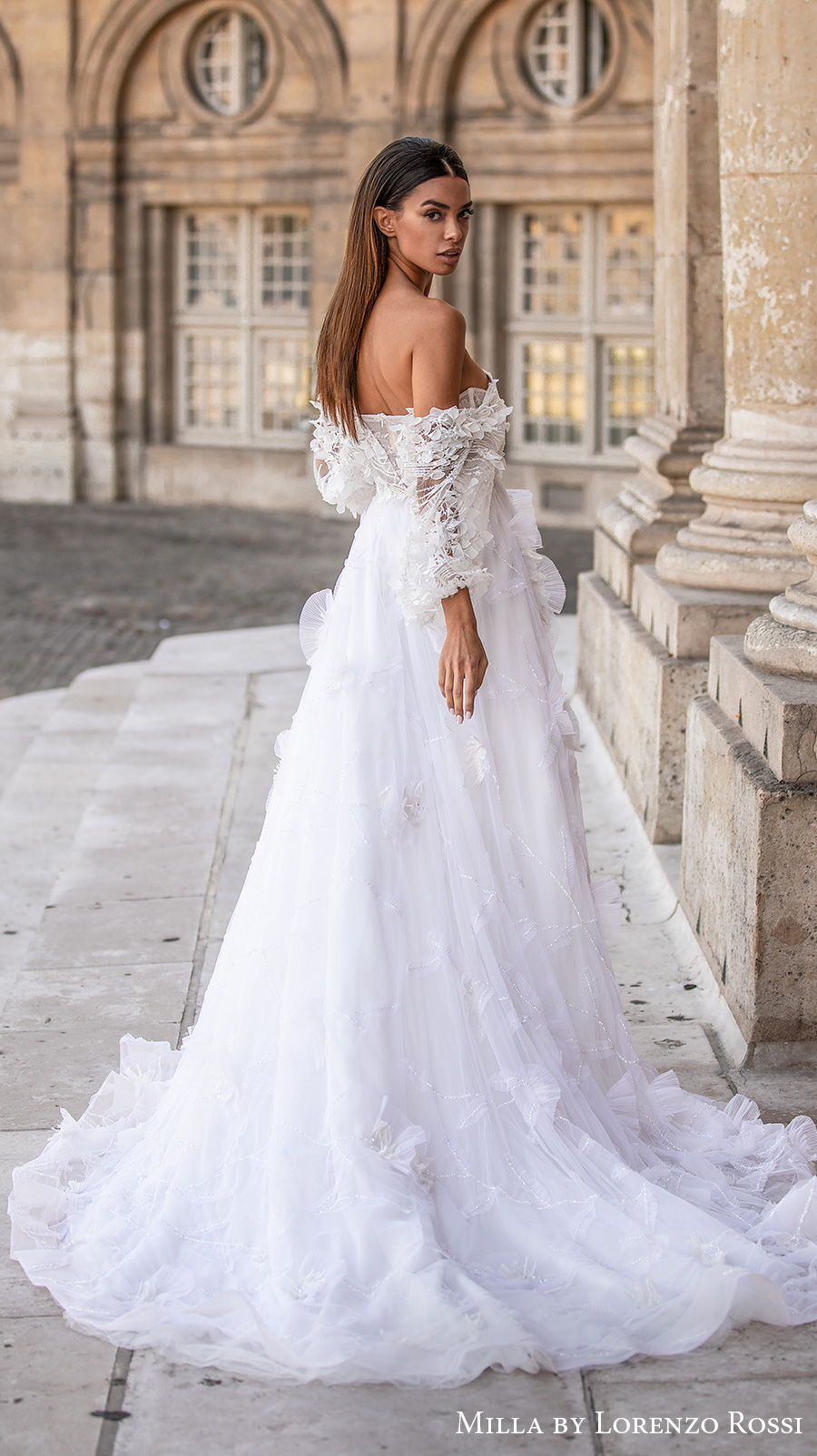 milla lorenzo rossi 2021 bridal long bell sleeves off the shoulder sweetheart neckline full embellishment romantic a  line wedding dress chapel train (morgan) bv