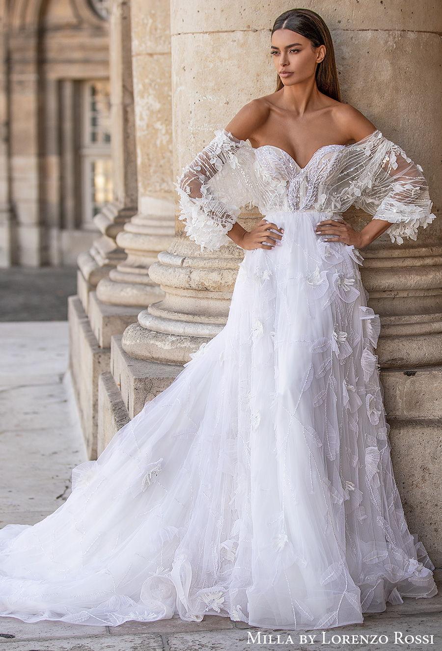 milla lorenzo rossi 2021 bridal long bell sleeves off the shoulder sweetheart neckline full embellishment romantic a  line wedding dress chapel train (morgan) mv