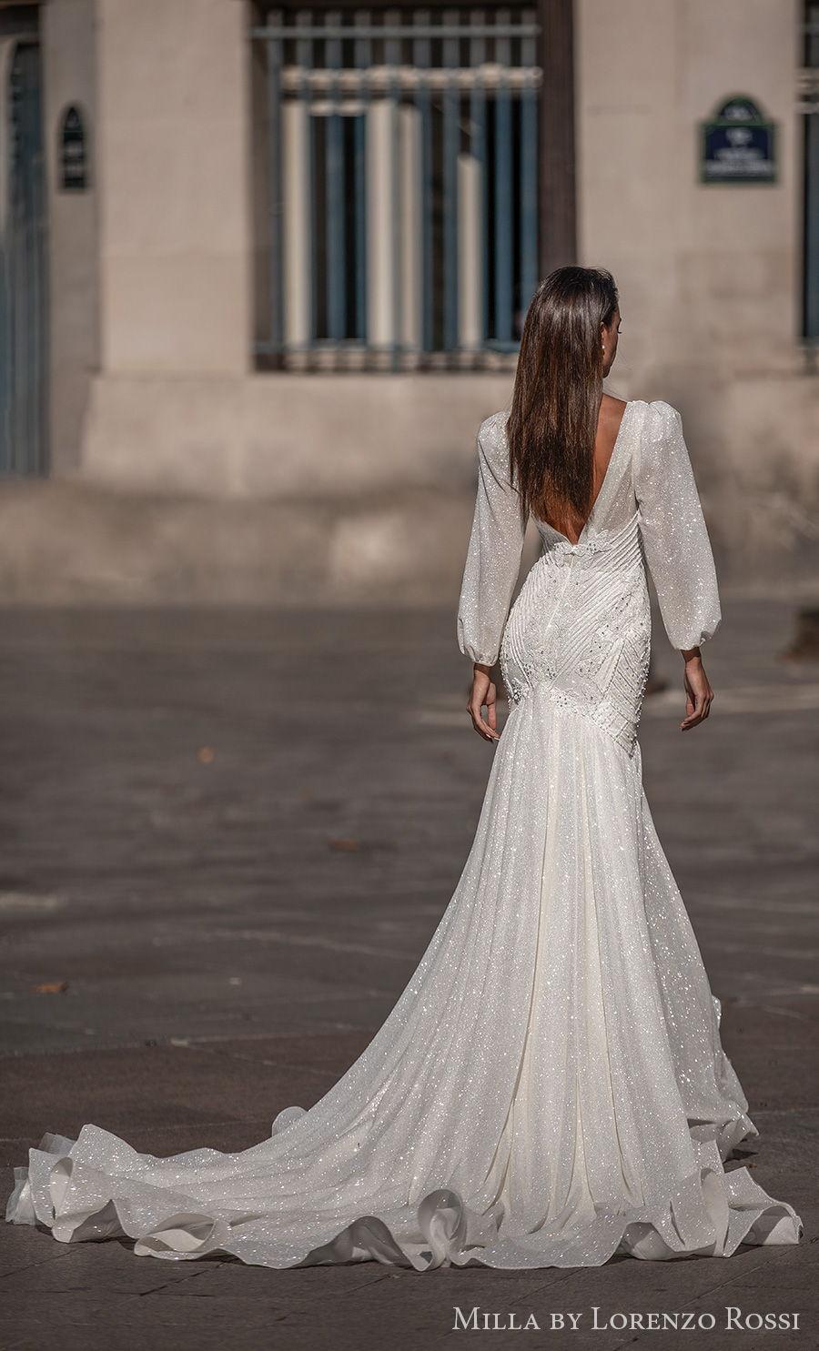 milla lorenzo rossi 2021 bridal long bishop sleeves deep plunging v neck full embellishment glitter elegant mermaid wedding dress v back chapel train (jayden) bv
