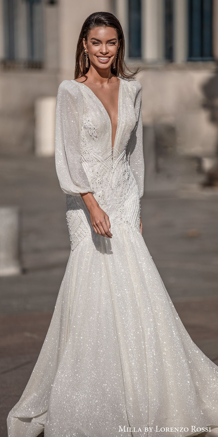 milla lorenzo rossi 2021 bridal long bishop sleeves deep plunging v neck full embellishment glitter elegant mermaid wedding dress v back chapel train (jayden) mv