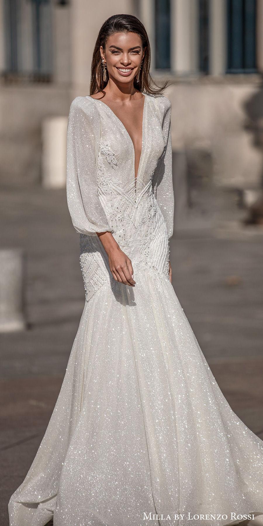 milla lorenzo rossi 2021 bridal long bishop sleeves deep plunging v neck full embellishment glitter elegant mermaid wedding dress v back chapel train (jayden) mv
