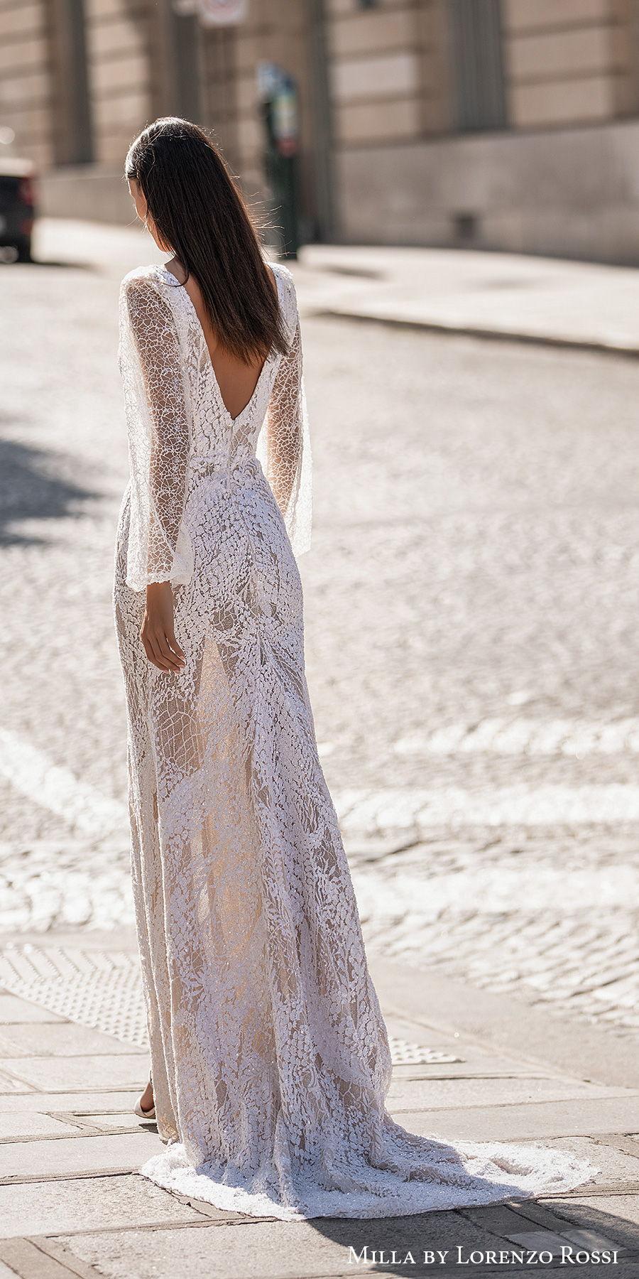 milla lorenzo rossi 2021 bridal long bishop sleeves deep plunging v neck full embellisment slit skirt sexy elegant sheath wedding dress v back short train (dominique) bv