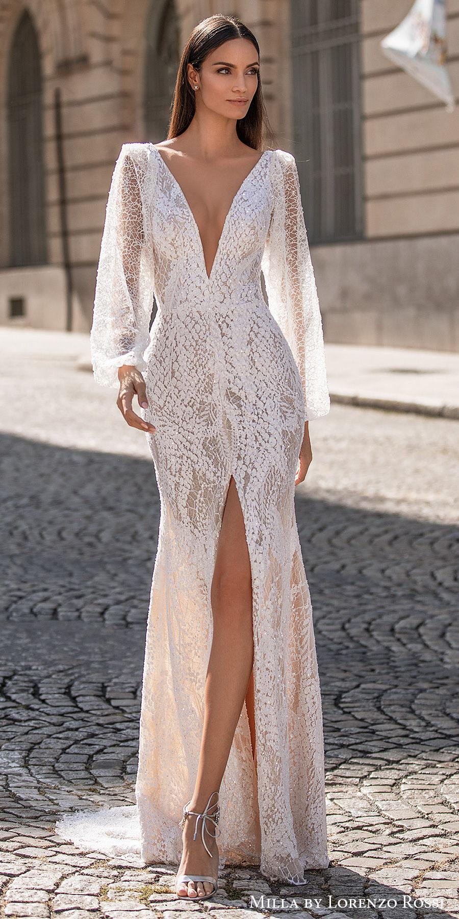 milla lorenzo rossi 2021 bridal long bishop sleeves deep plunging v neck full embellisment slit skirt sexy elegant sheath wedding dress v back short train (dominique) mv