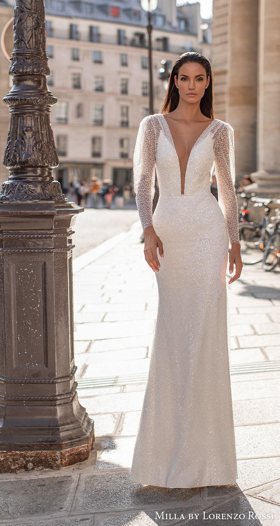 milla lorenzo rossi 2021 bridal long sleeves deep plunging v neck full embellishment glamorous elegant sheath wedding dress v back sweep train (leonela) mv