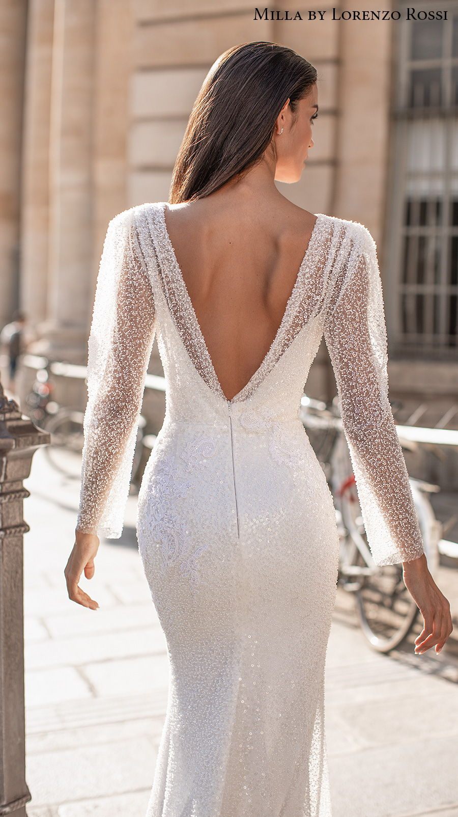 milla lorenzo rossi 2021 bridal long sleeves deep plunging v neck full embellishment glamorous elegant sheath wedding dress v back sweep train (leonela) zbv