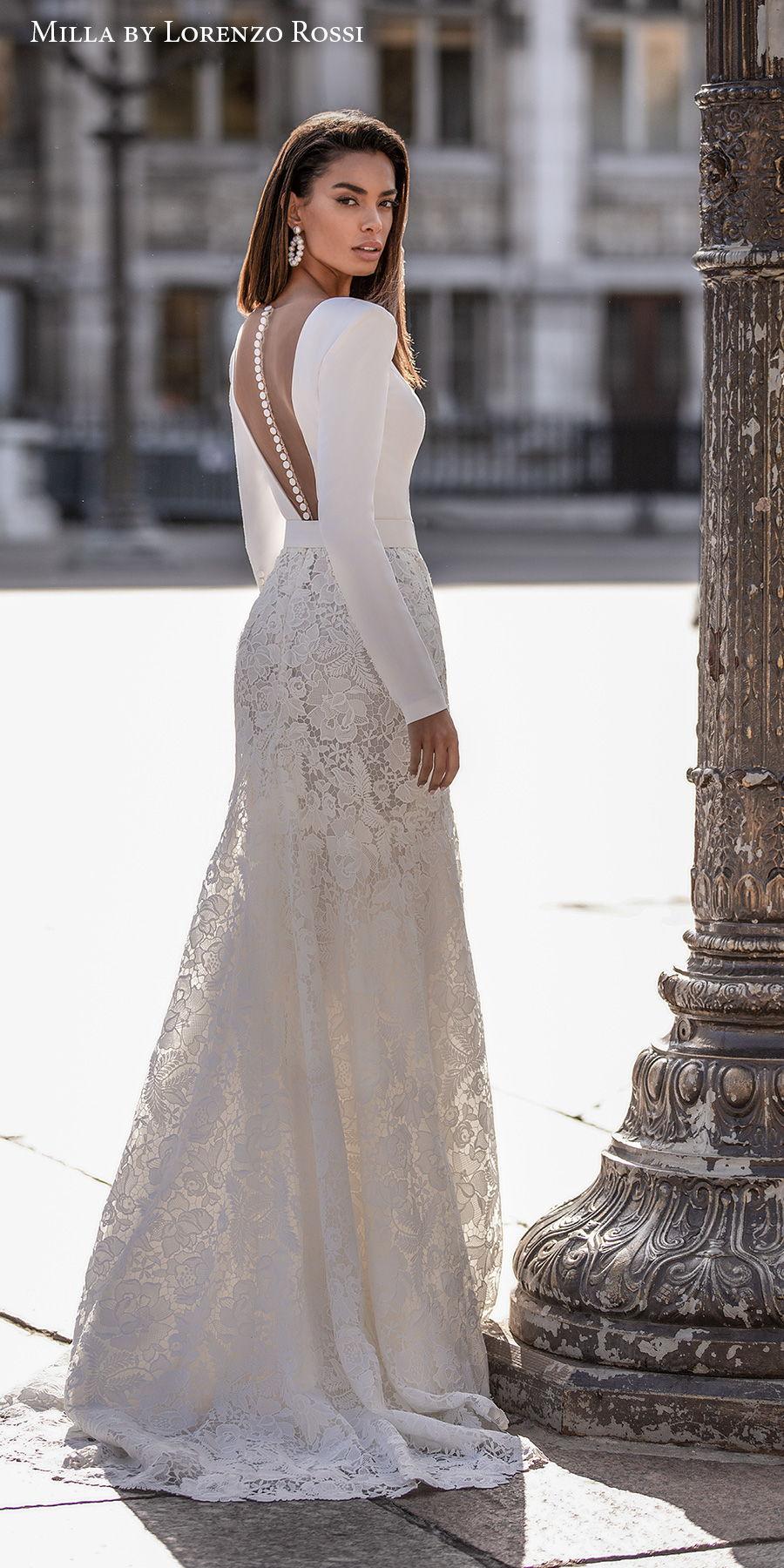 milla lorenzo rossi 2021 bridal long sleeves deep plunging v neck minimalist bodice lace skirt chic modern mermaid sheath wedding dress sheer button back sweep train (rochelle) bv