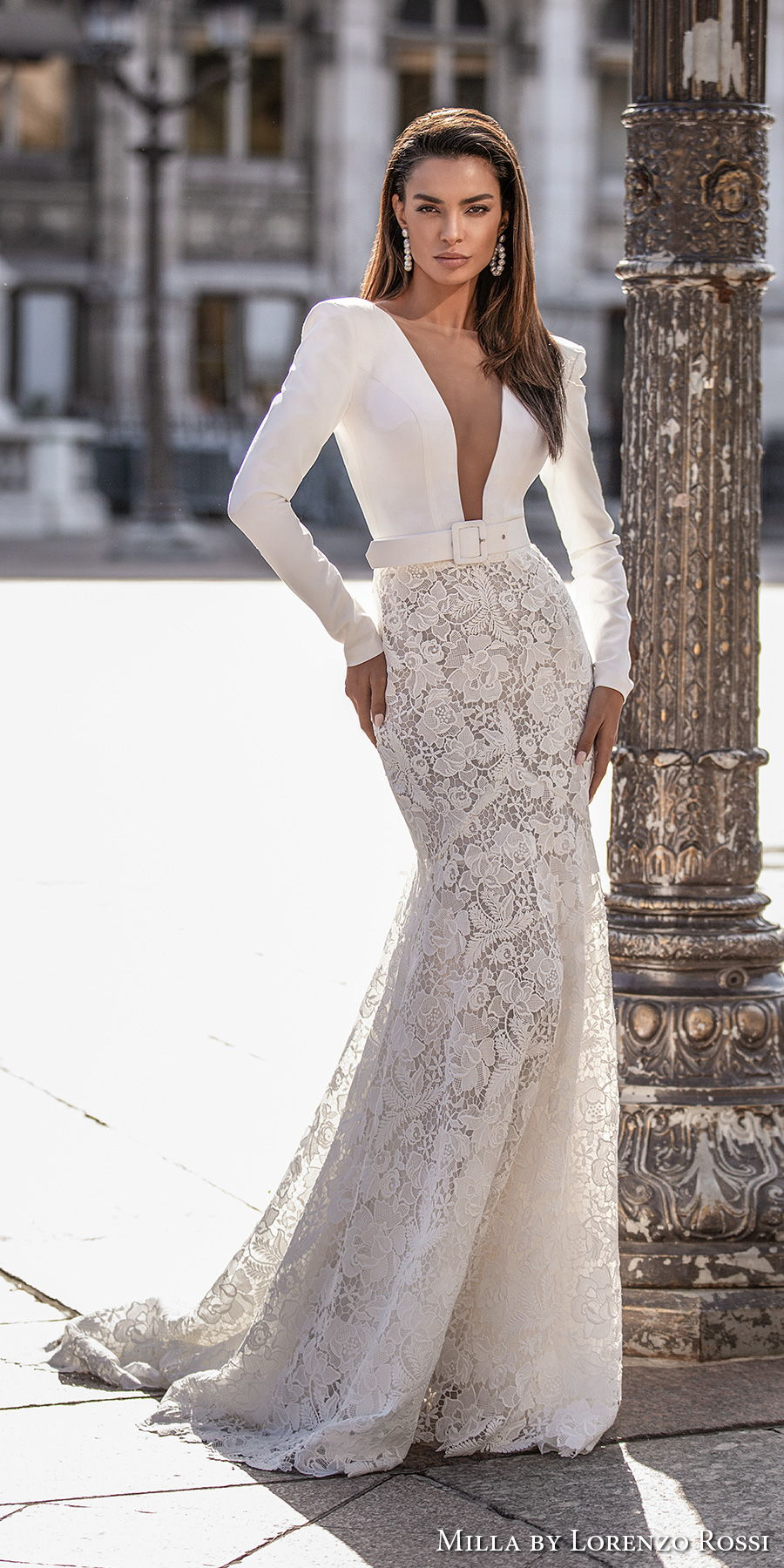 milla lorenzo rossi 2021 bridal long sleeves deep plunging v neck minimalist bodice lace skirt chic modern mermaid sheath wedding dress sheer button back sweep train (rochelle) mv