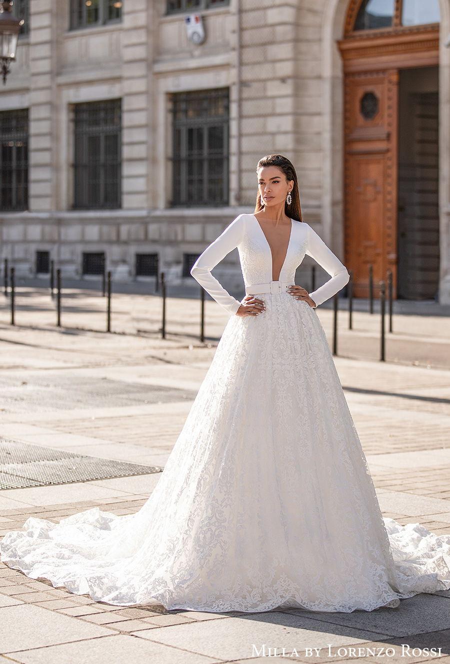 milla lorenzo rossi 2021 bridal long sleeves deep plunging v neck simple modern chic sexy a line wedding dress chapel train (rosalyn) mv