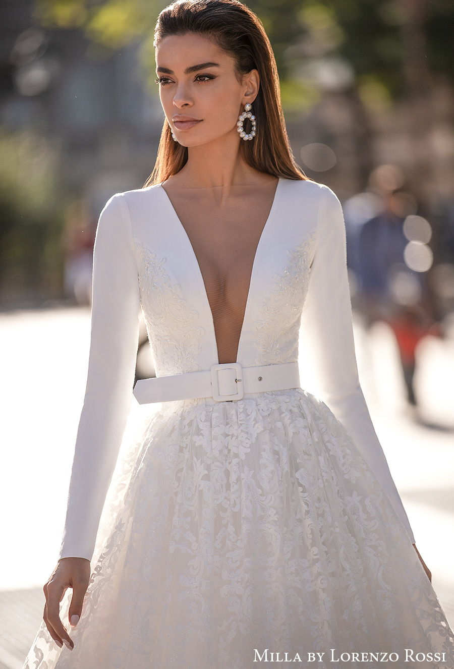 milla lorenzo rossi 2021 bridal long sleeves deep plunging v neck simple modern chic sexy a  line wedding dress chapel train (rosalyn) zv