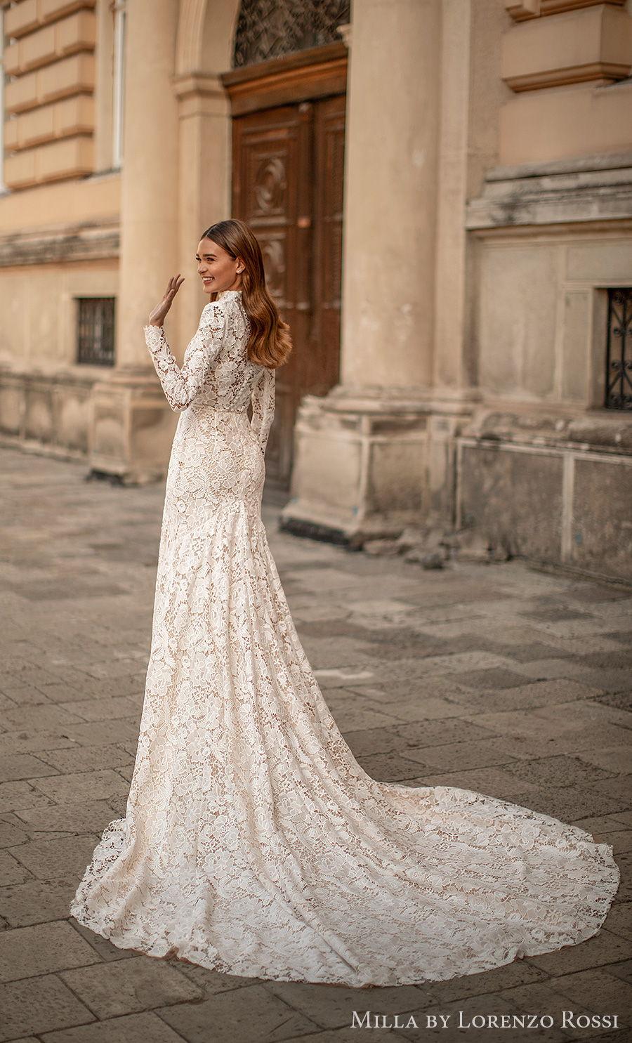 milla lorenzo rossi 2021 bridal long sleeves high neck full embellishment modest elegant mermaid wedding dress covered lace back chapel train (viola) bv