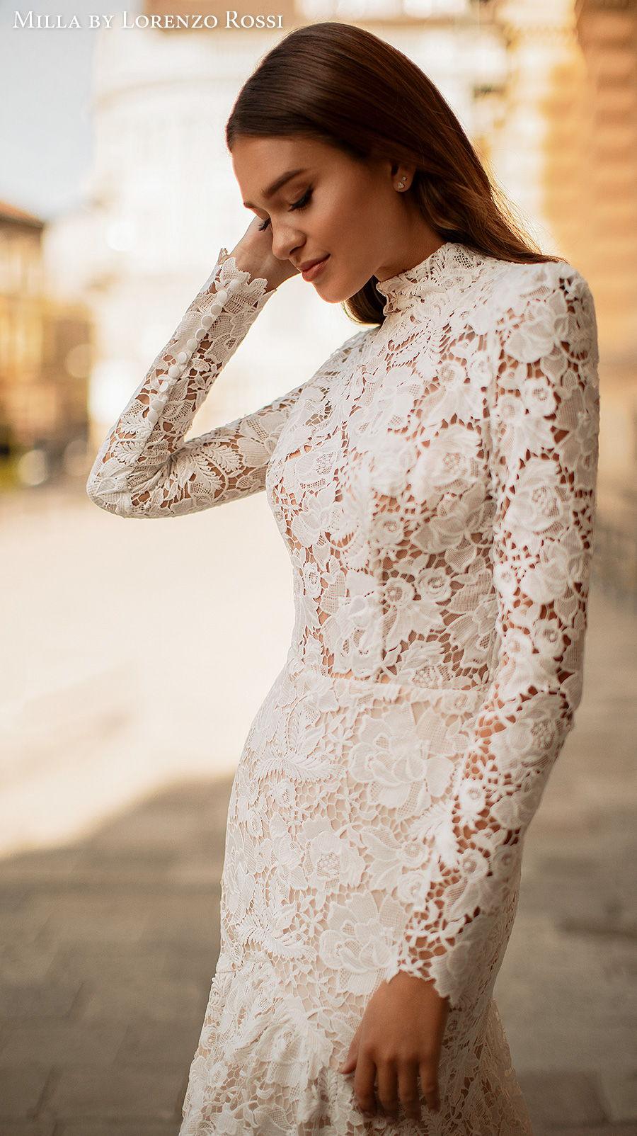 milla lorenzo rossi 2021 bridal long sleeves high neck full embellishment modest elegant mermaid wedding dress covered lace back chapel train (viola) zv