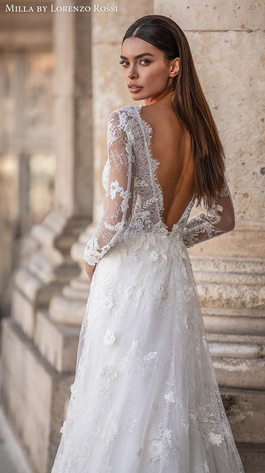 milla lorenzo rossi 2021 bridal long sleeves illusion bateau deep plunging v neck full embellishment elegant a  line wedding dress open v back chapel train (judy) bv
