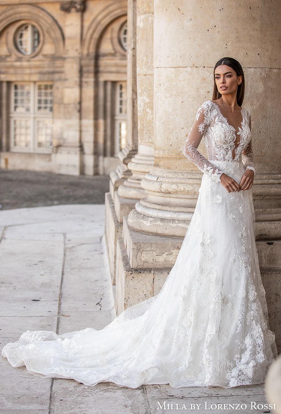 milla lorenzo rossi 2021 bridal long sleeves illusion bateau deep plunging v neck full embellishment elegant a  line wedding dress open v back chapel train (judy) mv