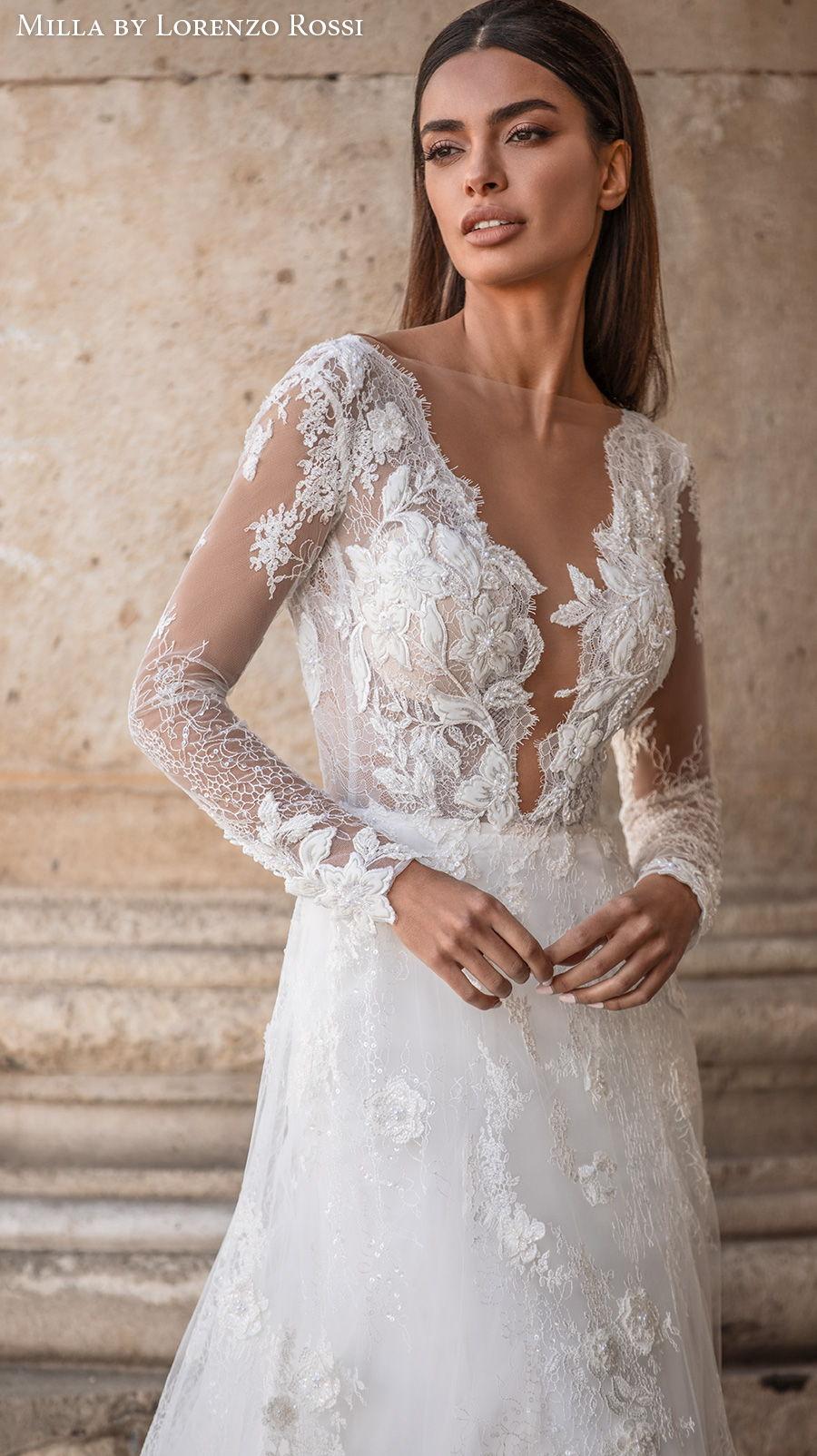 milla lorenzo rossi 2021 bridal long sleeves illusion bateau deep plunging v neck full embellishment elegant a  line wedding dress open v back chapel train (judy) zv