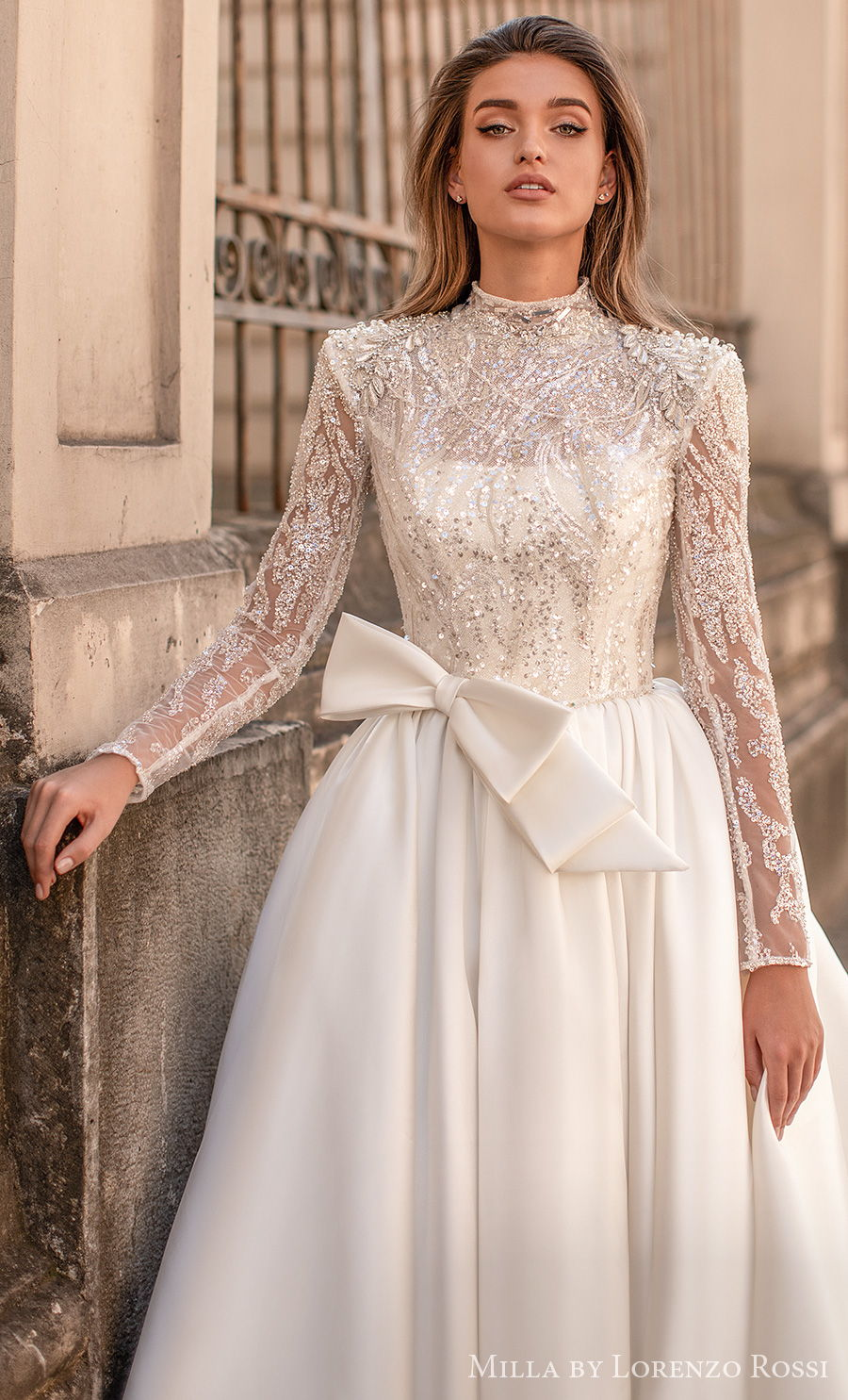 milla lorenzo rossi 2021 bridal long sleeves illusion high neck heavily embellished bodice glitter glamorous ball gown a  line wedding dress (georgette) mv