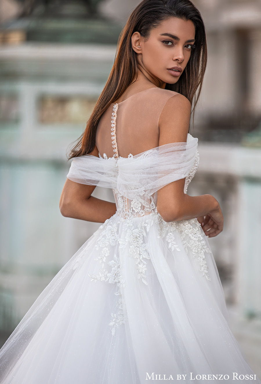 milla lorenzo rossi 2021 bridal off the shoulder illusion bateau sweetheart neckline heavily embellished bodice princess a  line wedding dress sheer button back chapel train (melusina) zbv